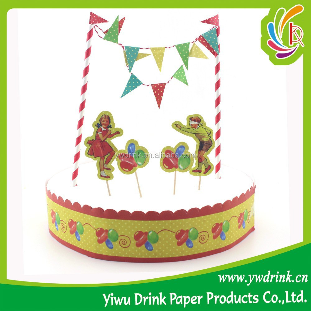Party Decoration Food Grade Paper Flag and paper straw