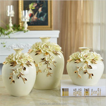 Decorative ceramic porcelain floral vase with gold trim Pinching Flower. Ceramic vase with gold rim