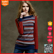 Woolen sweater new designs for ladies jacquard long loose knitted sweater