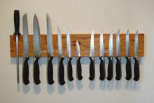 Magnetic Wooden Wall Knife Rack Holder Hardwood with a clear coating rack