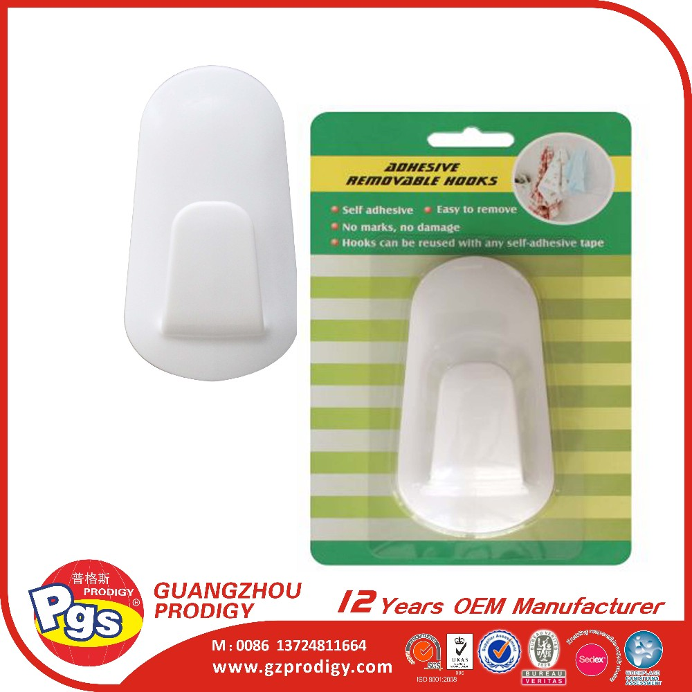 Permanent Adhesive Plastic Hanger Large Utility Plastic Hook