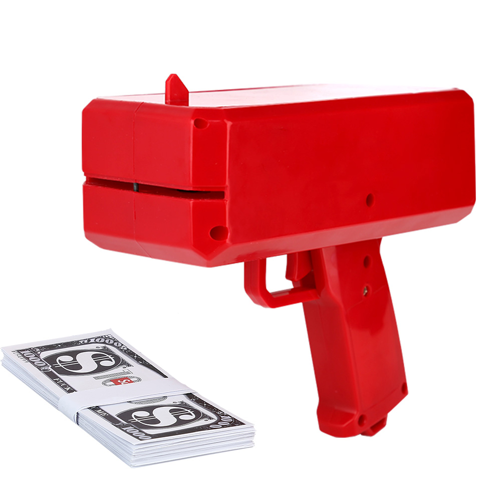 Cash Cannon Money Gun Make It Rain Money Toy Spit Banknotes Gun Red Christmas Gift Shot Toys For Children