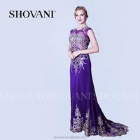 SHOVANI Wedding dress mermaid with purple sleeveless chapel train beaded lace boutique dresses