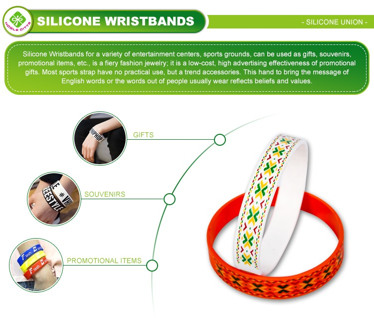 Silicone embossed superior economical name tag wristband