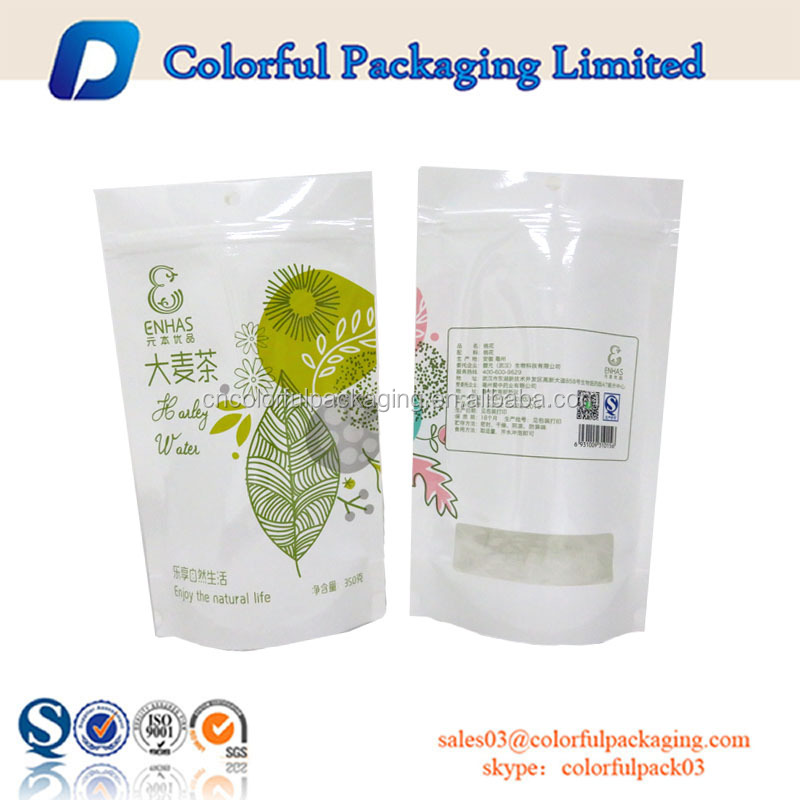 Laminated kraft paper bag resealable pouch tea packaging with zip lock