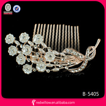 Gold-plated Decorative Bridal Hair Comb Pearl Jewelry Wedding In Wholesale