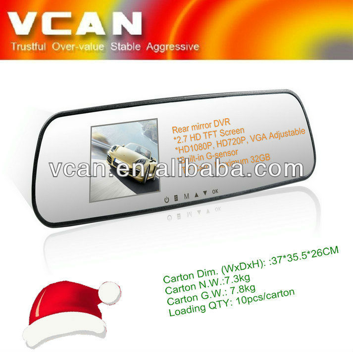 "car rearview mirror monitor DVR 2.7"" tft lcd monitor"