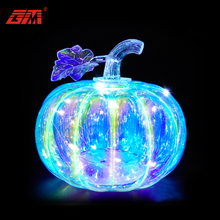 Wholesale battery powered hand blown glass 3d halloween pumpkin light for home decoration and gifts
