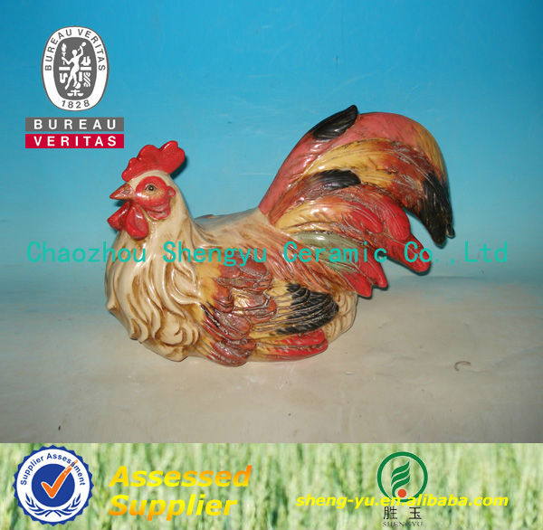 hot sale ceramic hand painted rooster figurine