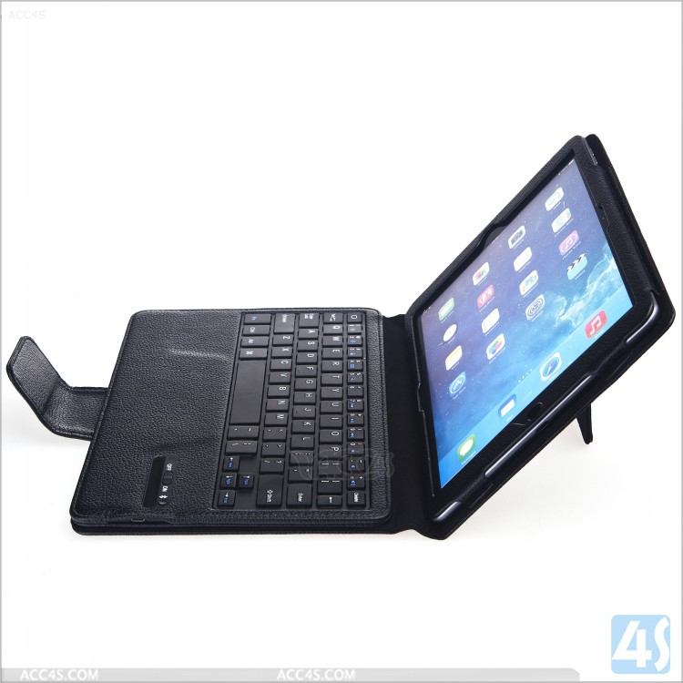 for ipad air 2 wireless keyboard case, Detachable bluetooth wireless keyboard with leather case for ipad 6 / ipad air 2