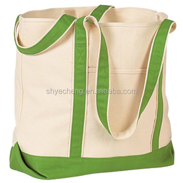 organic recyclable shopping cotton bag,large cotton canvas tote bag,cotton laundry bag with colorful handle