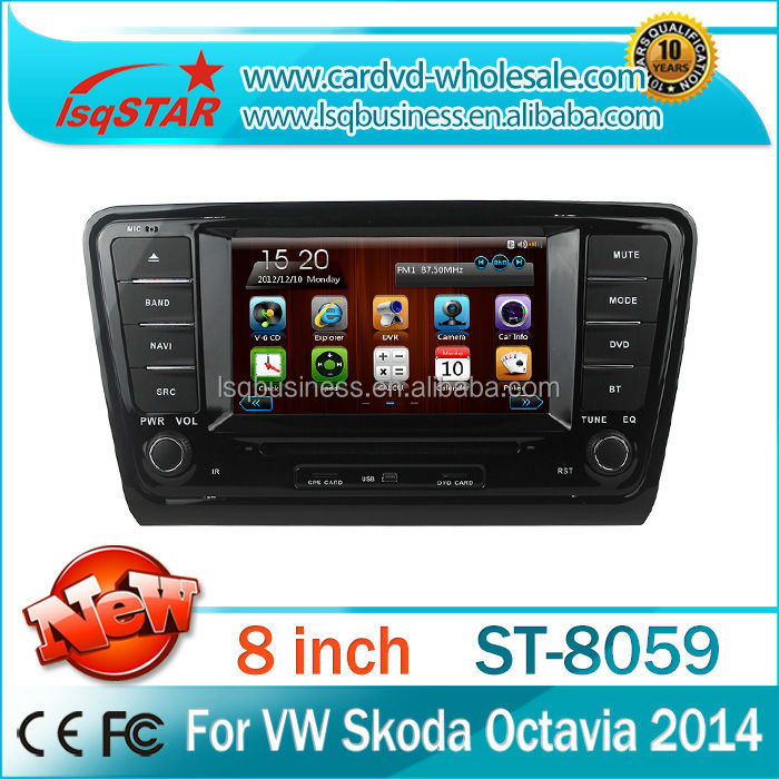 VW 2014 2015 New Skoda Octavia Car Radio DVD GPS wince 6.0 BT phonebook+Ipod list+USB +SWC+ATV+GPS+MP4/MP5+canbus