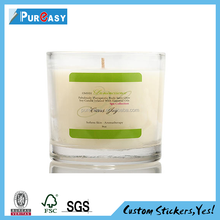 Custom waterproof clear candle jar label sticker