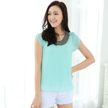 Exclusive 9 Color S-4XL New Blouses Women Loose Chiffon Casual Beading Blouse Pullover Shirt Tops Chemise Femme Big size