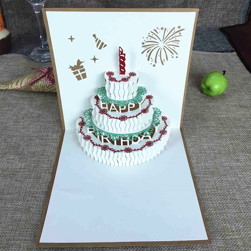 Happy Birthday Postcard Greeting Gift Cards Kraft Kirigami Blank Paper 3D Handmade Pop Up Laser Cut Vintage Cake with Envelope (7)