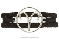 Wholesale 1 Dozen 12 Zodiac Friendship Rope Handmade Bracelet MS-SL00077b Aries Black Color