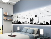 AY9214 Big Ben and the Statue of Liberty and Eiffel Tower Wall Sticker 60*90