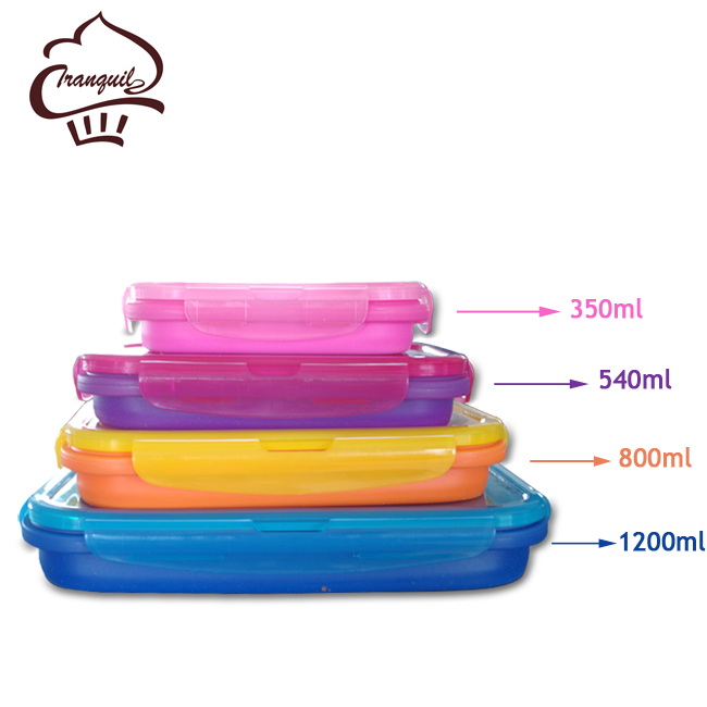 New Arrival Set of 4 Small and Large Silicone Collapsible Storage Box Meal Prep Container for Kitchen or Kids Lunch Bento Box
