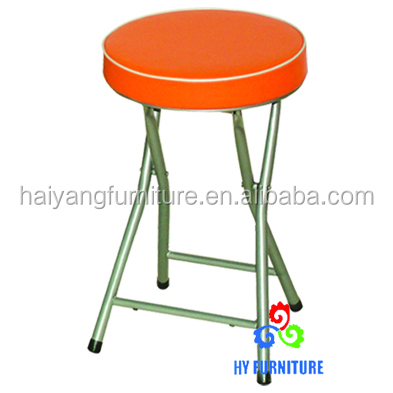 Round folding metal stool with thick sponge cushion for sale