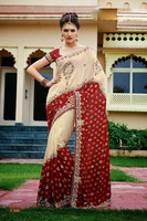 Cream With Meron Heavy Stone Work Designer Saree