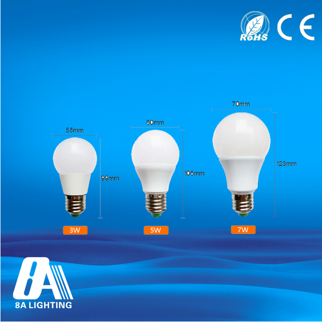 China new led bulb ac85-265v plastic e26e27 b22 led bulb