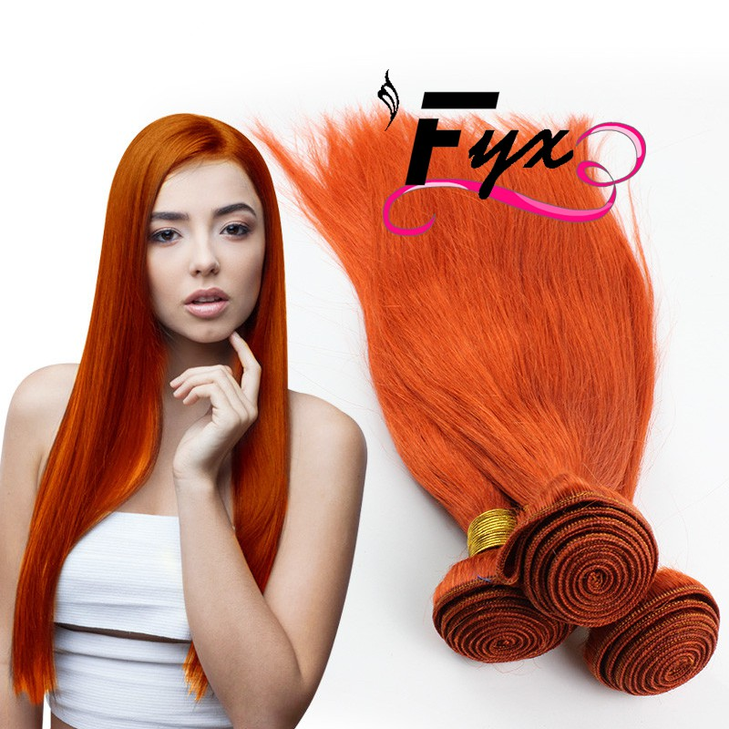 New premium 9A ORANGE# Hair Weave for braiding with bundles Straight weave extension Free sample Brazilian Virgin Human Hair