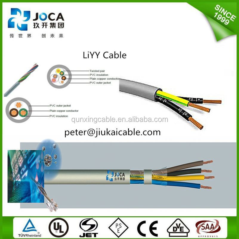 LIYCY LIYY LI2YCY Cable BS DIN 300/500V PVC/PUR insulation Screened12 18 24 cores oil fire resistance Flexible control cable