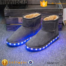 Soft fashion TPR winter snow leather woman boot with led light