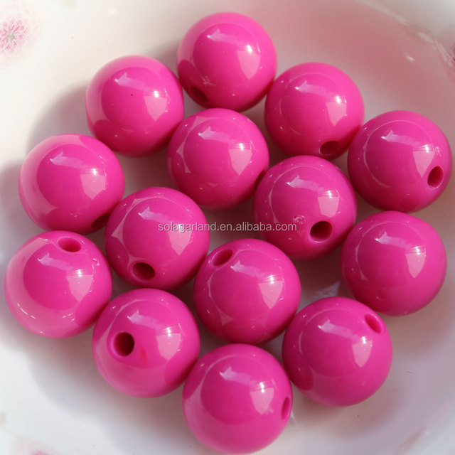 Cheap Custom 20MM Pink Solid Opaque Round Plastic Acrylic Beads for Fashion Jewelry
