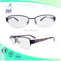 Stainless Optical eyeglasses, Half Rim beautiful glasses Frame, china wholesale for women