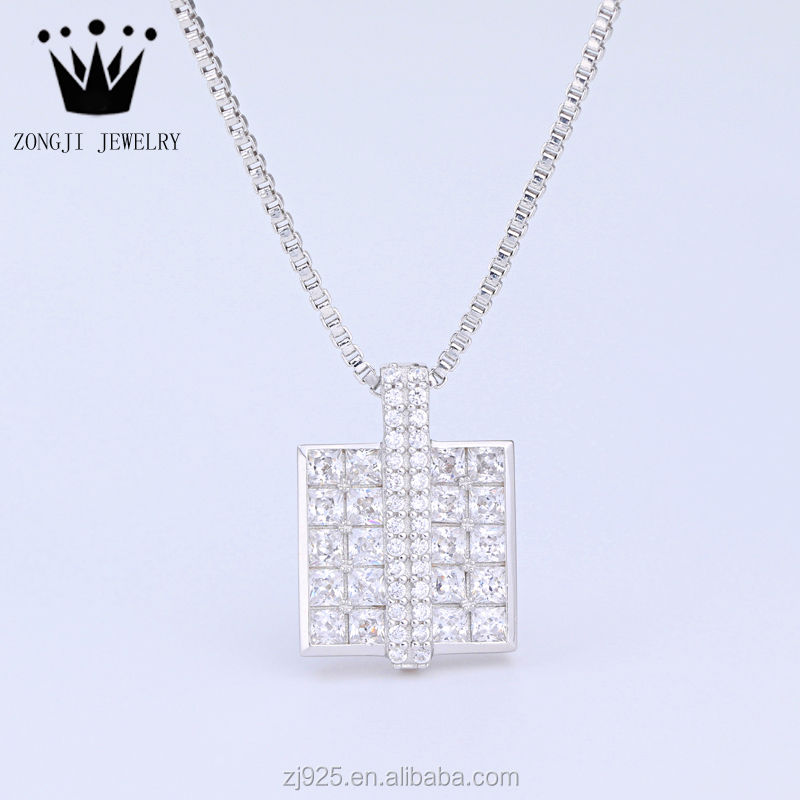Wholesale 925 Sterling Silver Little Square Shape Pendant With Clear Cz Stones Hot Sale