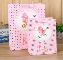 Baby Shower Gift Dots Background Girl Pink Honey Carriage Paper Bag
