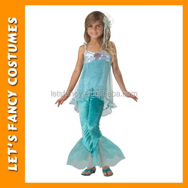 PGCC1694 cheap sell blue luxury mermaid princess costume for girl