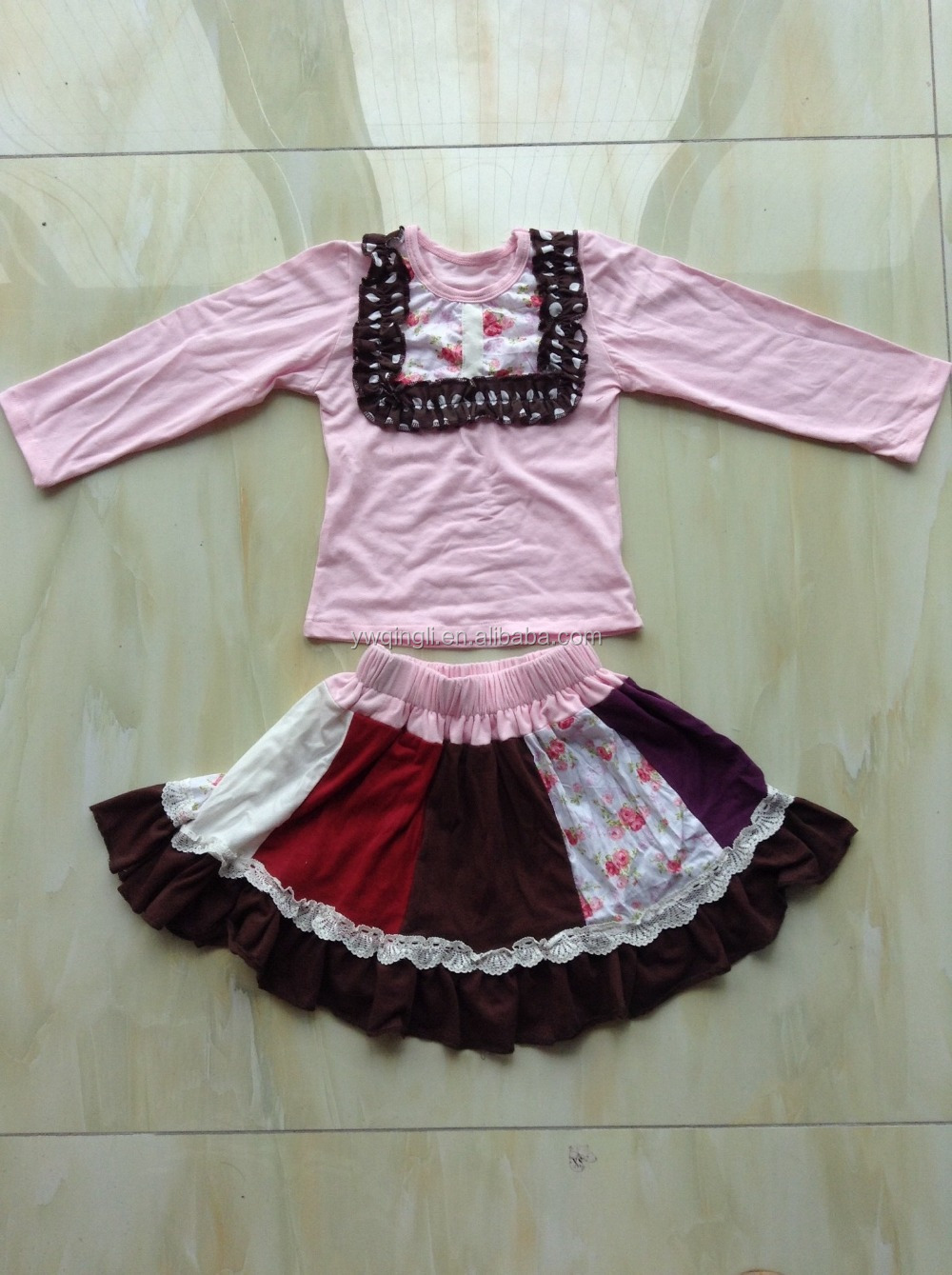 2015 China Wholesale Little Girls Clothing Sets Pink Outfit 100% Cotton Childrens Boutique Remake Skirts Sets