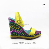 LQR06 popular women thick sole shoes for girls injection beautiful wedge high heel sandals