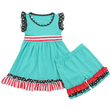 Boutique toddler clothing wholesale ruffle baby sleeveless clothes summer cotton girl clothing sets