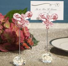 Crystal white and pink butterfly wholesale price wedding favors place card holder wedding supplies