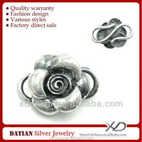 XD KM175 925 antique silver rose flower charms wholesale sterling silver charms