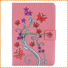 3D Embossing butterfly flower pattern pu leather flip tablet case for Ipad mini 4