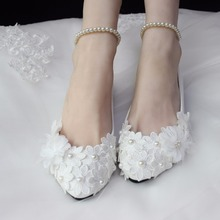 BK06 Woman Flat And High Heel Wedding Shoes Lace Pearls Ladies Shoes