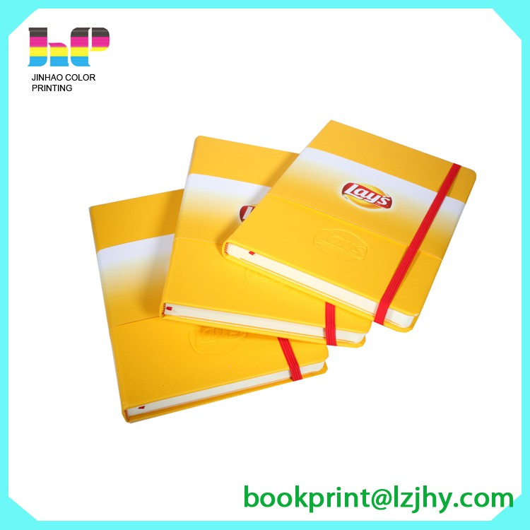 notebook printing with elastic tape notebook with logo printing on demand