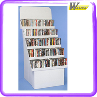 Exquisite Design CD Books Rack Corrugated White Cardboard Display on super markets book pharmacies retail display