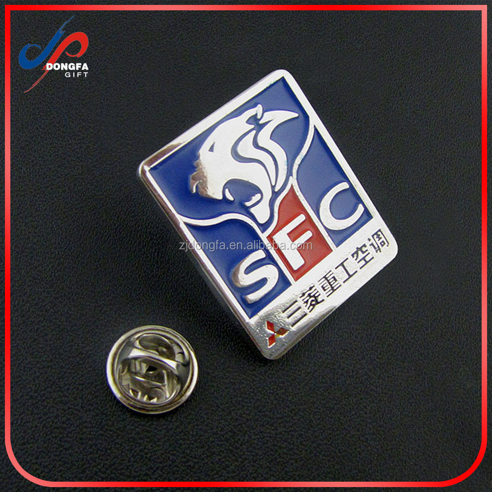 2016 epoxy coated offset printing metal badge with safety pin