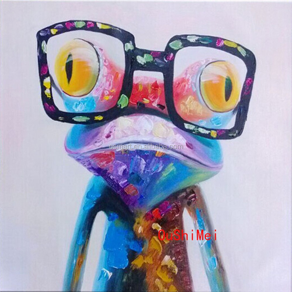 New Arrived High Quality Frog Oil Painting on Canvas Hand-painted Modern Abstract Funny Animal Frog Oil Painting on Linen Canvas