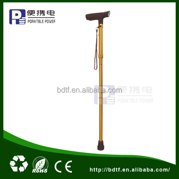 elderly hand fordable walking stick with LED alarm light GL-HWHC010