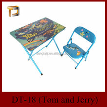 DT-18 children furniture study folding children desk and chair/wooden fold chair