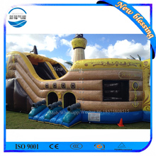 Commercial use kids outdoor inflatable pirate ship water slide for sale