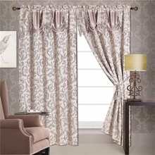 2pcs Yarn Dyed Silver Line Window Curtain With Tassels Without Backing