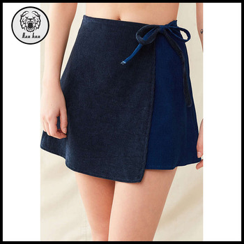Women Corduroy Mini Wrap Skirt