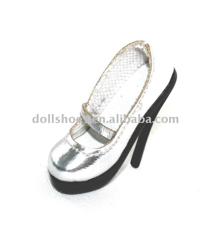 high heel BJD doll shoes silver toy shoes in doll collections SD toy shoes